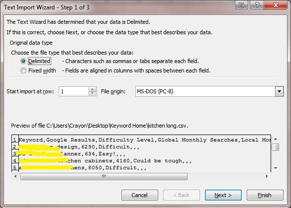 Convert CSV to XLS Step 1