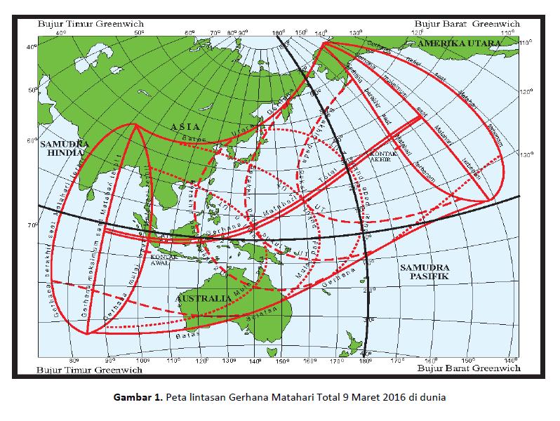 Peta Lintasan Gerhana Matahari 9 Maret 2016 di Dunia