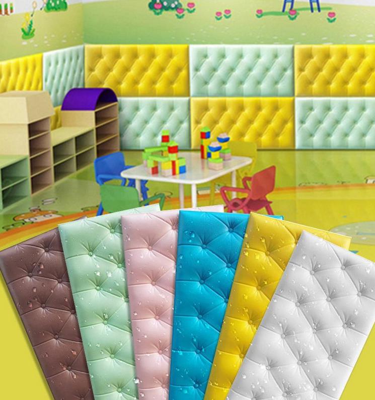Wallpaper 3D Bahan Busa Anti Air Ukuran 60x30cm Untuk Dekorasi Ruang Tamu/Kamar Tidur Anak