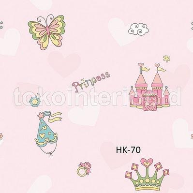 Wallpaper Dinding Kamar Anak Cewek Motif Princess dan Istana Pink