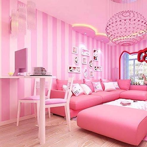 Wallpaper Dinding Motif Garis Pink Untuk Kafe,kamar Anak Cewe