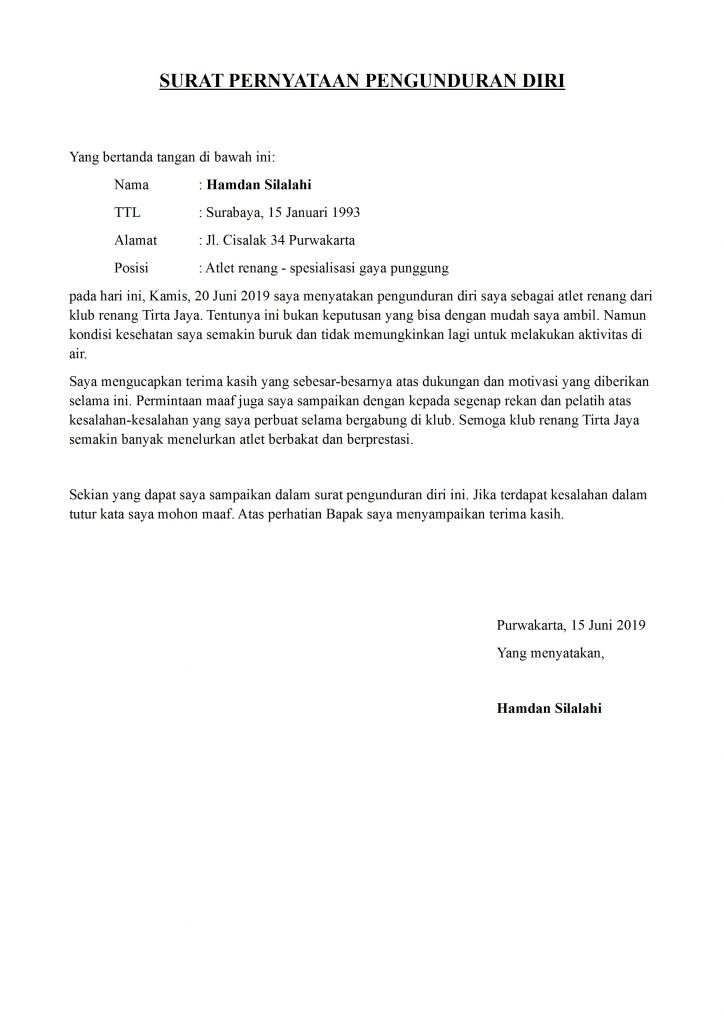 Contoh Surat Pengunduran Diri Atlet