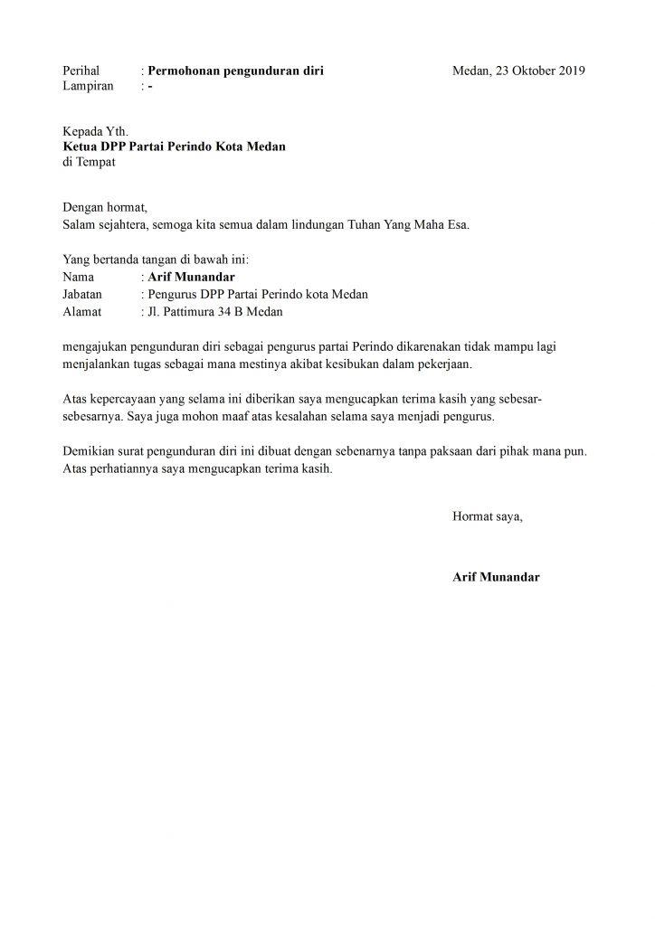 Contoh Surat Pengunduran Diri Dari Partai