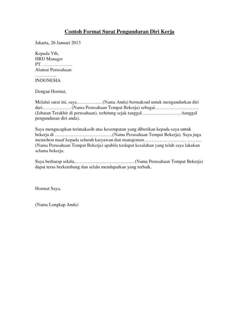 Contoh Surat Pengunduran Diri Dari Perusahaan Tempat Kerja 1