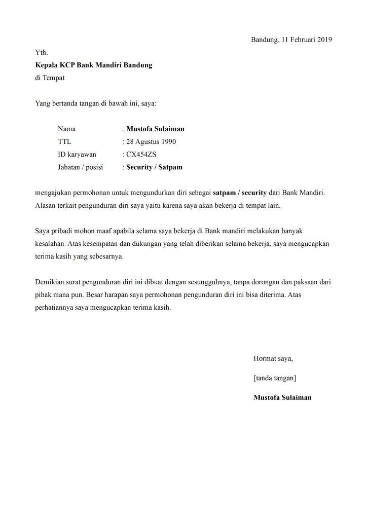 Contoh Surat Pengunduran Diri Satpam